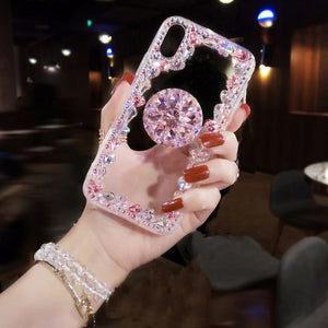 Sale Collection - Love Pink 3D Diamond Bracket Transparent iPhone Case - Beautiful In Pink Collection