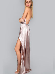 Just Pink Collection - Women's Plunge High Slit Dress - Beautiful In Pink Collection