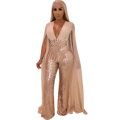 Just Pink Collection - Women's Chiffon Split Sequin Jumpsuit - Beautiful In Pink Collection