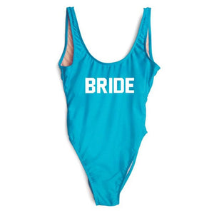 Just Beautiful Collection - Women's BRIDE Letter Print One Piece Swimsuit - Beautiful In Pink Collection
