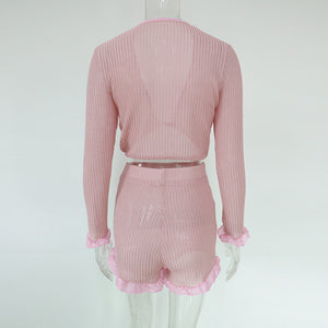 Just Pink Collection - Women's Ruffled Mesh Crop Top And High Waist Shorts Set - Beautiful In Pink Collection