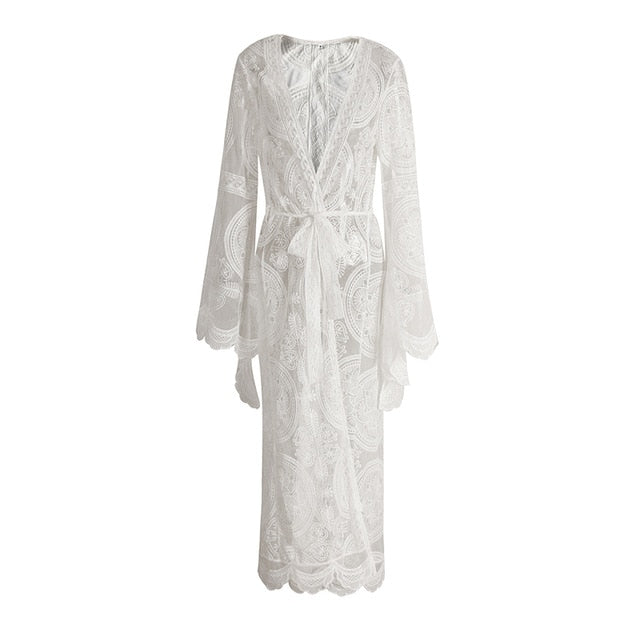 Just Beautiful Collection - Women's Bohemia Flare White Lace Cardigan Top - Beautiful In Pink Collection