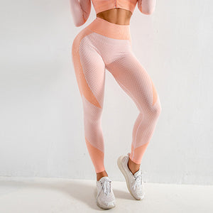 Just Pink Collection - Women's Long Sleeve Top and Stretch Leggings Fitness Yoga Workout Set - Beautiful In Pink Collection