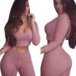 Just Pink Collection - Women's Long Sleeve Top and Pants Yoga Workout Suit - Beautiful In Pink Collection