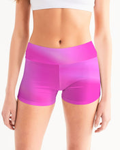 Load image into Gallery viewer, Beautiful In Pink Collection Dye Fade Women's Mid-Rise Yoga Shorts - Beautiful In Pink Collection