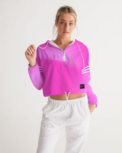 Beautiful In Pink Collection Dye Fade Women's Cropped Windbreaker - Beautiful In Pink Collection