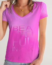Load image into Gallery viewer, Beautiful In Pink Collection Dye Fade Women's V-Neck Tee - Beautiful In Pink Collection