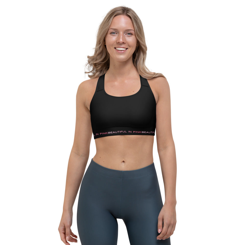 Beautiful In Pink Collection Women's Black Sports bra - Beautiful In Pink Collection