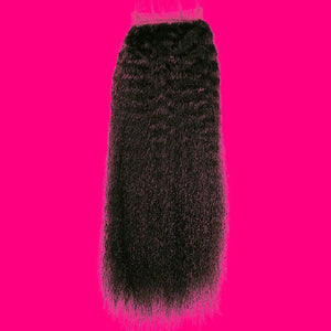 BIP Hair Collection - Brazilian Kinky Straight Closure - Beautiful In Pink Collection