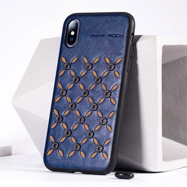 iPhone Xs Leather Leaf Pattern Hybrid Case