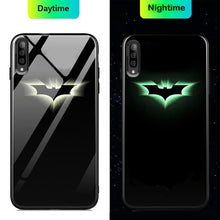 Load image into Gallery viewer, Galaxy A50 Radium Batman Logo Glow Glass Hard Case