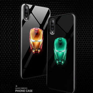 Galaxy A50 Radium Iron Man Logo Glow Glass Hard Case