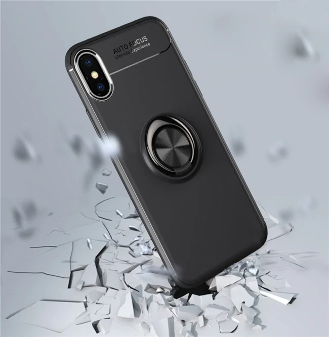 iPhone Xs Max Finger Ring Silicone Hybrid Case