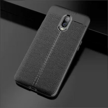 Load image into Gallery viewer, Oneplus 6T Leather Textured Autofocus Soft Back Case -  Black
