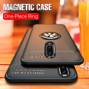OnePlus 6T Metallic Finger Ring Holder Matte Case - Black