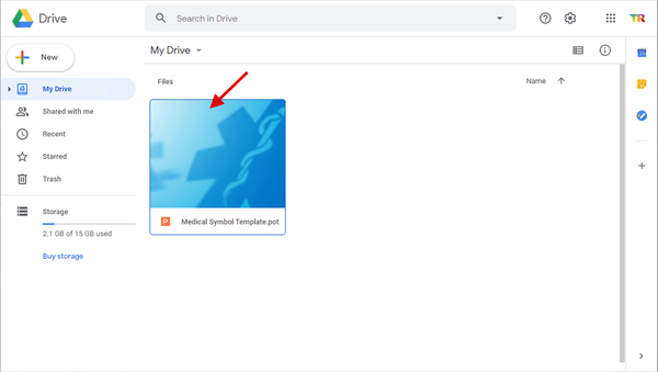 The PowerPoint file will show on your Google Drive