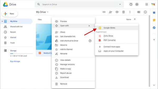 The PowerPoint presentation will open in Google Slides