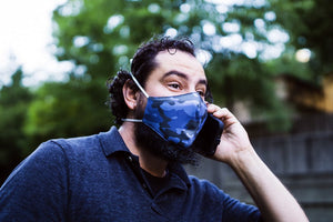 Rhino Reusable Face Mask - Blue Camo