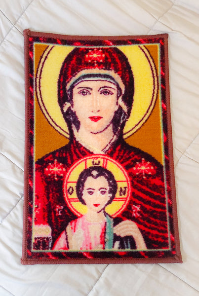 Icon of our Mother Saint Mary holding baby Jesus - Religious Artwork on Carpet