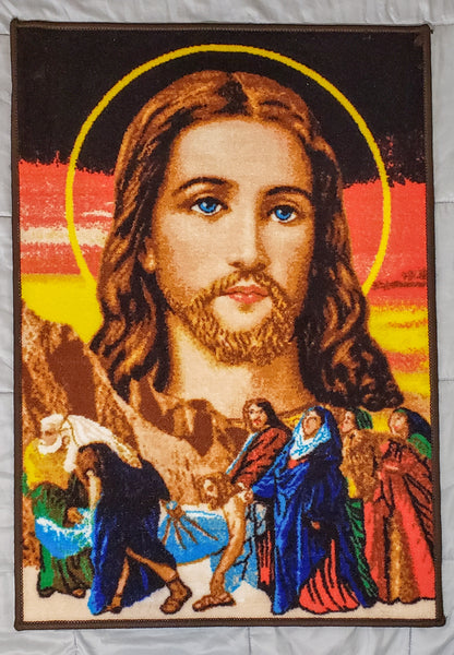 Icon of our Lord and Savior Jesus Christ -The Burial of Christ- Religious Artwork on Carpet