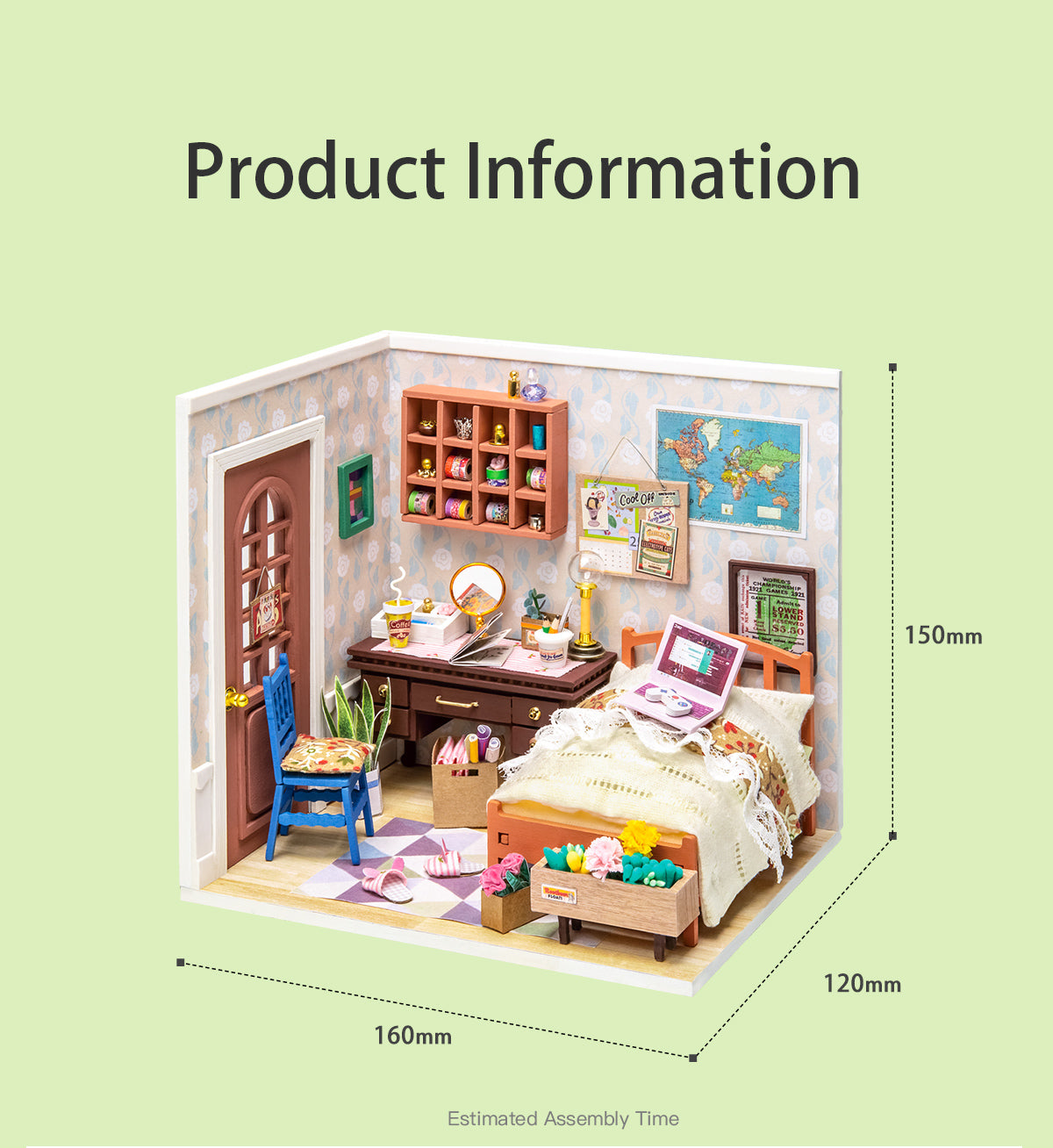 Rolife New Arrival DIY miniature dollhouse | Wonderful Life Series - Anne's Bedroom DGM08