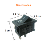 Switch Balancín 10A/125V 6A/250V 1 Polo, 1 Tiros, 2 Posiciones Enclave (ON-OFF) Rectangular Mini