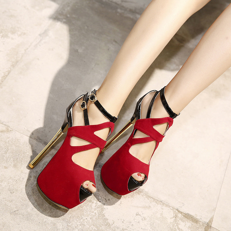 High Heel Sexy Heel Cross Strap Buckle Party Platform High Heels