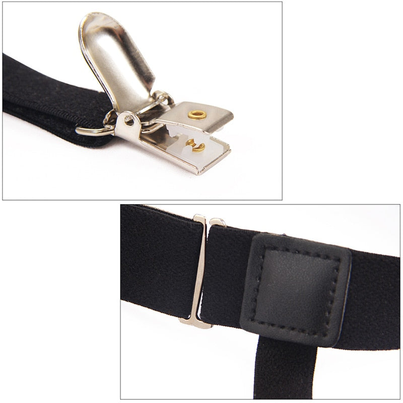 2 Pcs Men Shirt Stays Belt with Non slip Locking Clips