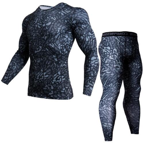 2 Piece Tracksuit Men Compression MMA Long sleeve t shirt Rashgard kit Camouflage Sweatshirt+leggings Fitness Thermal underwear|Long Johns