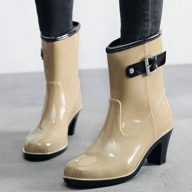 2019 New Leisure rain boots women Low Heeled Round Toe Shoes Waterproof Middle Tube Rain Boots chaussures femmes botas mujer 7.8|Ankle Boots