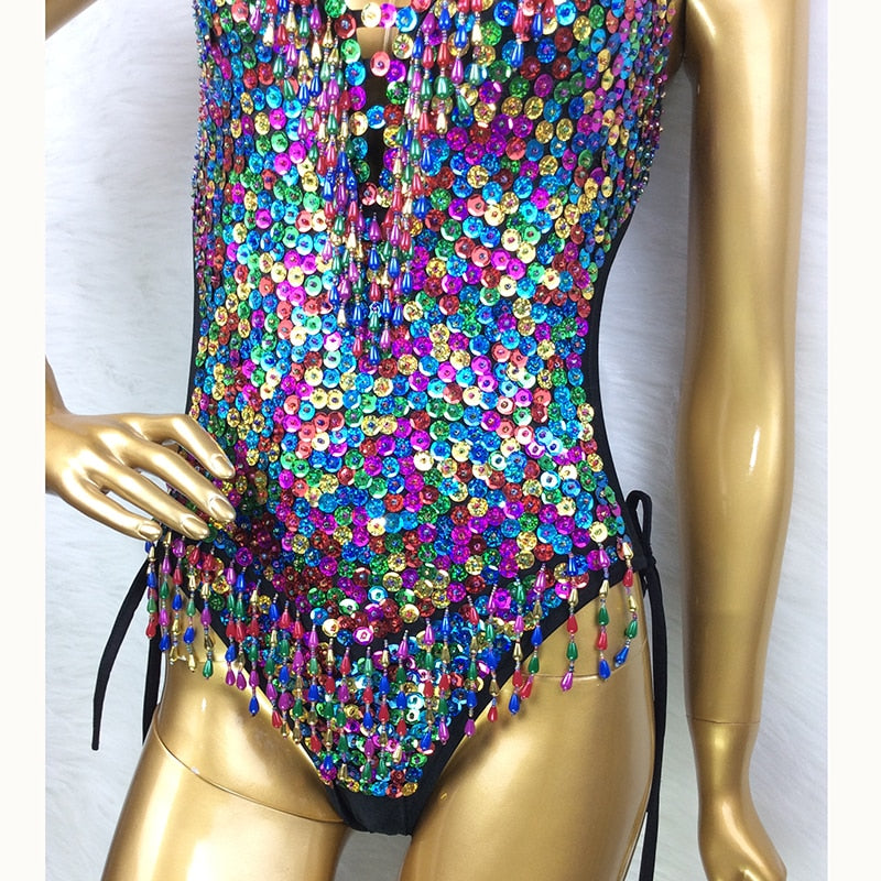 Full Sequins Beading Bodysuit One Piece