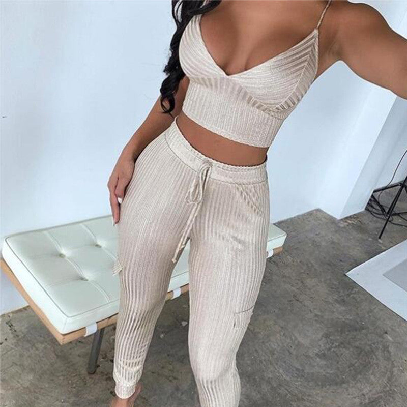 Sexy 2 Piece Two Piece Set Sleeveless Bandage Long Pants