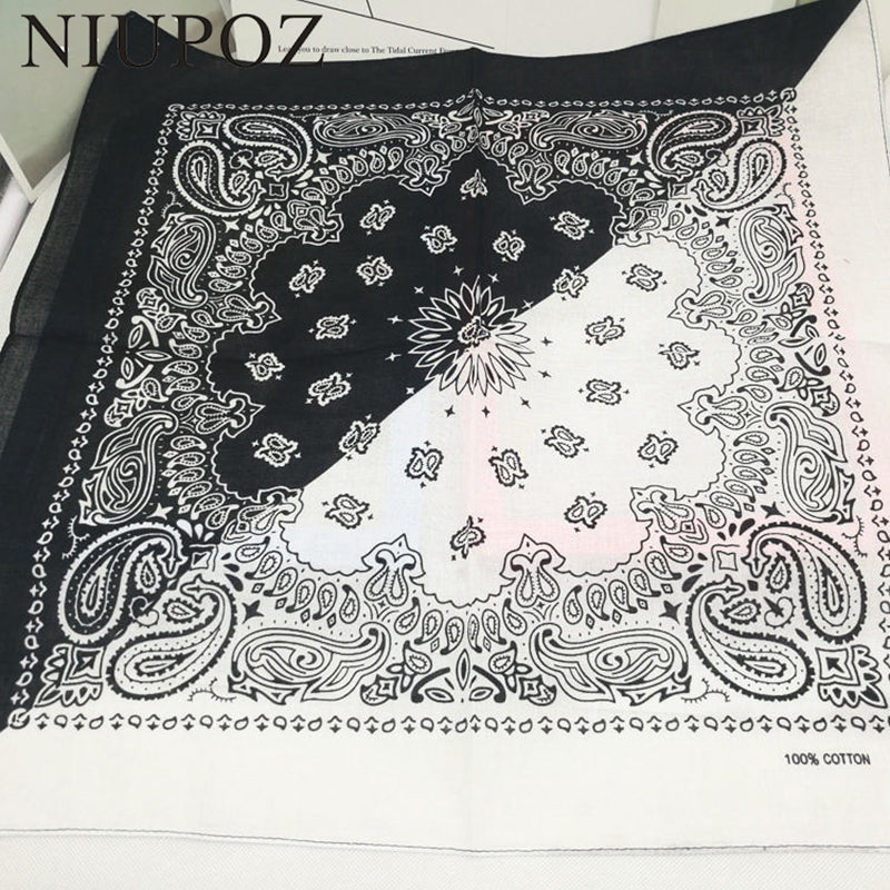 2020 New Fashion Hip Hop 100% Cotton Bandana Square Scarf 55cm*55cm Black Red Paisley Headband Printed For Women/Men/Boys/Girls