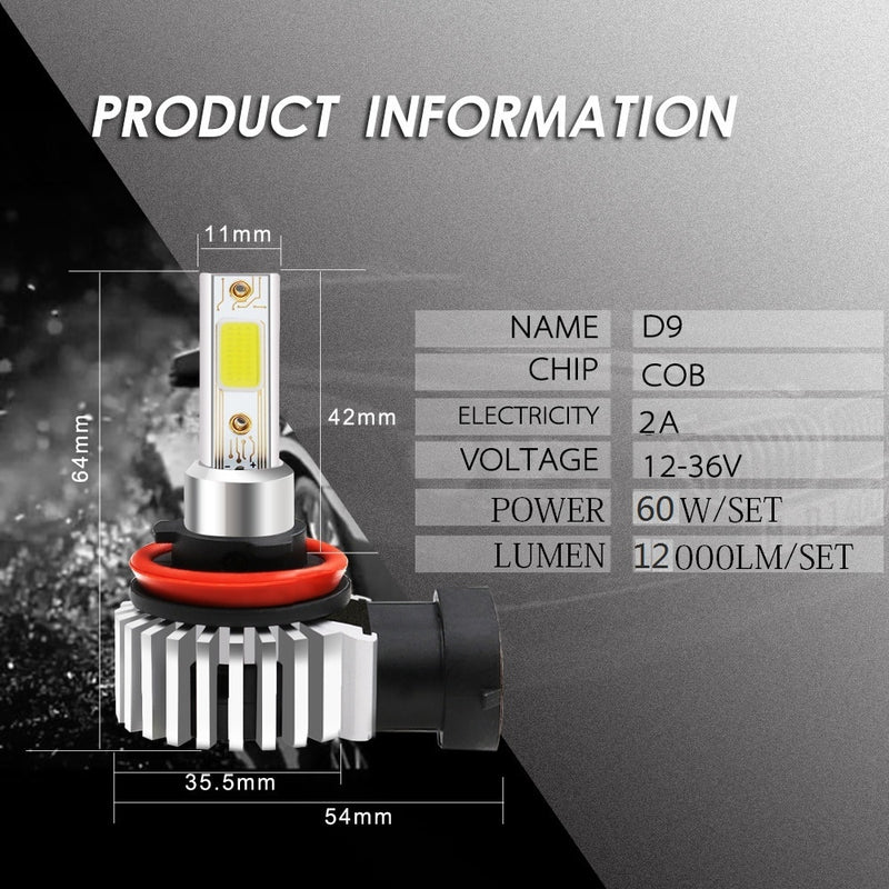 2pcs 60W 12000LM Car LED Headlight Bulbs H11 9006 HB4 9005 HB3 H4 H7 H8 H9 H1