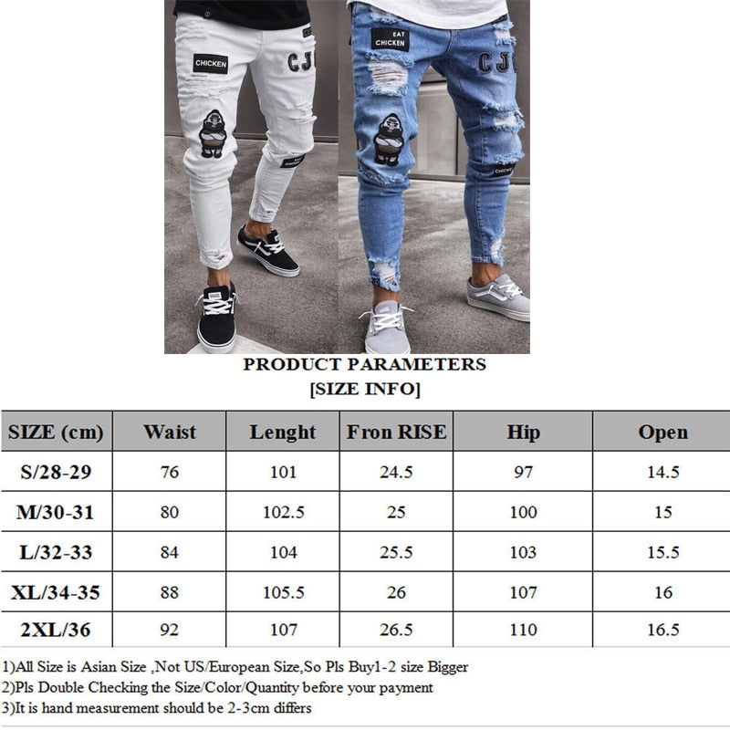 3 Styles Men Stretchy Ripped Skinny Biker Embroidery Print Jeans Destroyed Hole Taped Slim Fit Denim Scratched High Quality Jean|Jeans