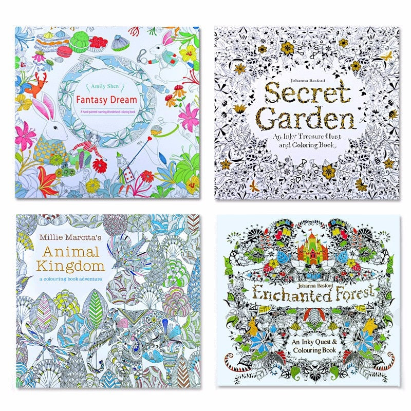 4 pcs 24 Pages Animal Kingdom Coloring Book