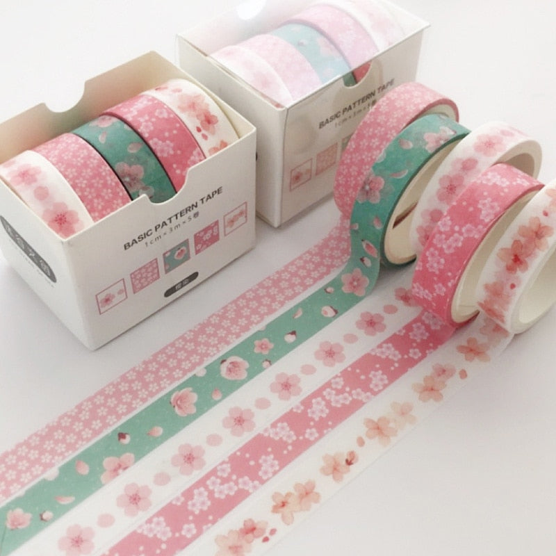 5Pcs/Set Grid Washi Tape Cute Decorative Adhesive Tape Solid Color Masking Tape For Stickers Scrapbooking DIY Stationery Tape