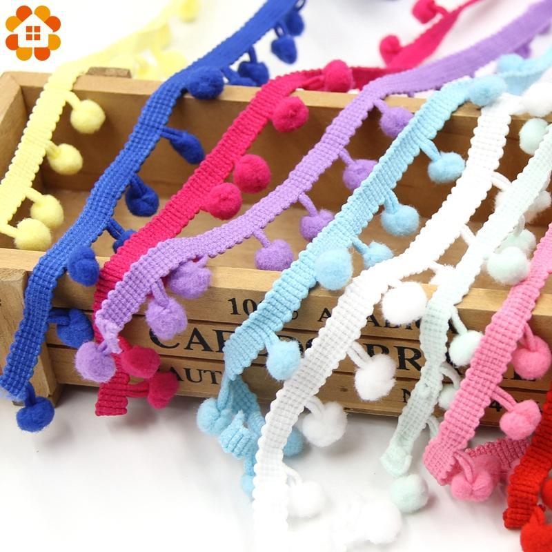 5Yards/Lot Hot Sale 10Mm Pom Pom Trim Ball Fringe Ribbon Diy Sewing Accessory Lace 17 Colors For
