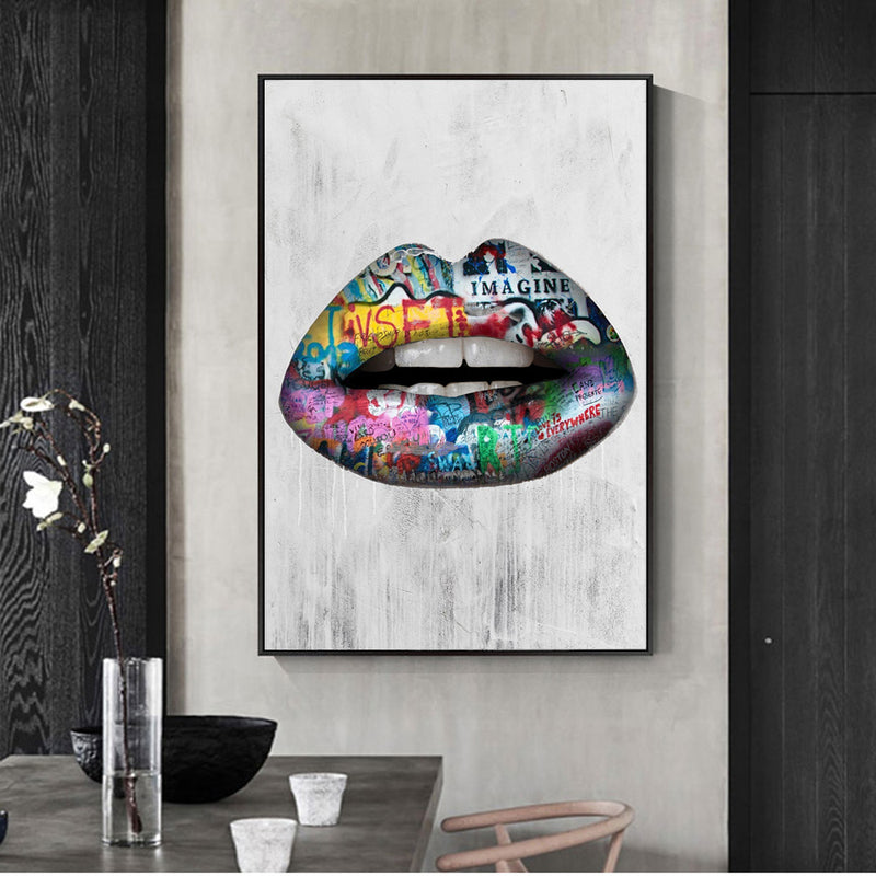 Abstract Sexy Lips Wall Art Paintings Print On Canvas