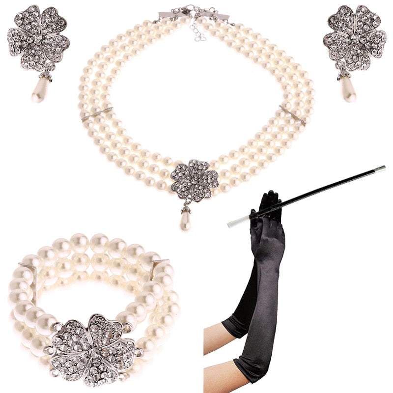 Costume Jewelry Accessory Set Pearl Necklace Earring Bracelet Glove Cigarette Holder