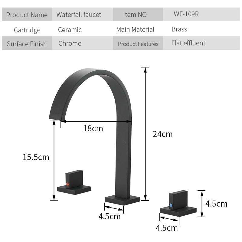 Deck Mounted Square Bathroom Sink Faucets