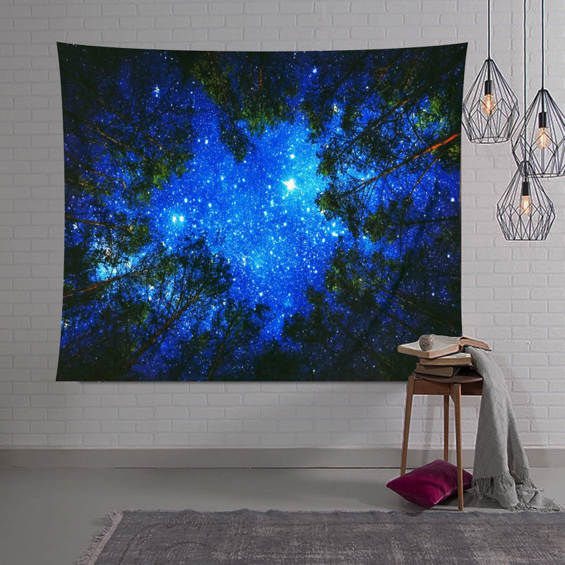Beautiful Night Sky Wall Tapestry Home Decorations Wall Hanging Forest Starry Night Tapestries For Living Room Bedroom|Decorative Tapestries