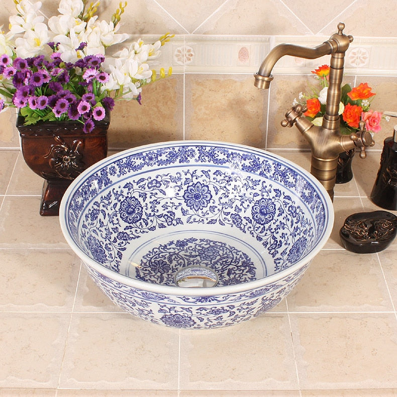 Blue and white chinese wash basin