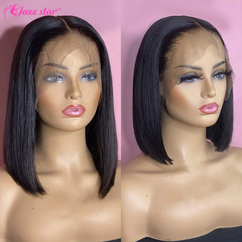 Brazilian Wig Straight Short Bob Lace Front Wigs 13x4 Lace Front Human Hair Wigs Pre plucked With Baby Hair Jazz Star Non Remy|Human Hair Lace Wigs