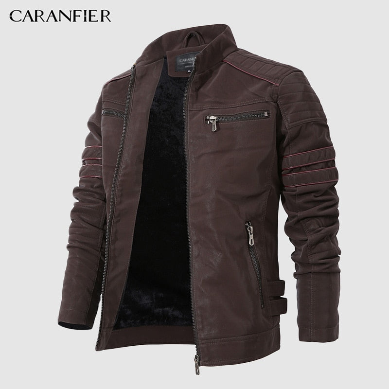 Men Stand Collar Motorcycle Velour Leather Jacket