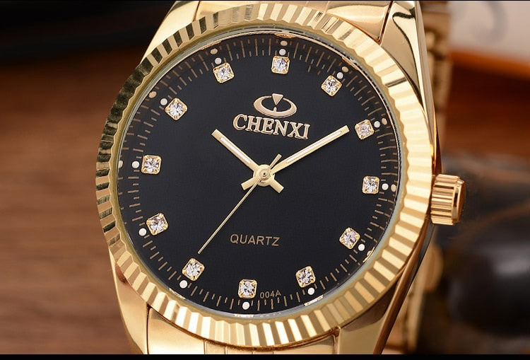 Luxury Watch Golden Fashion Stainless Steel Lovers Watch Quartz Wrist Watches
