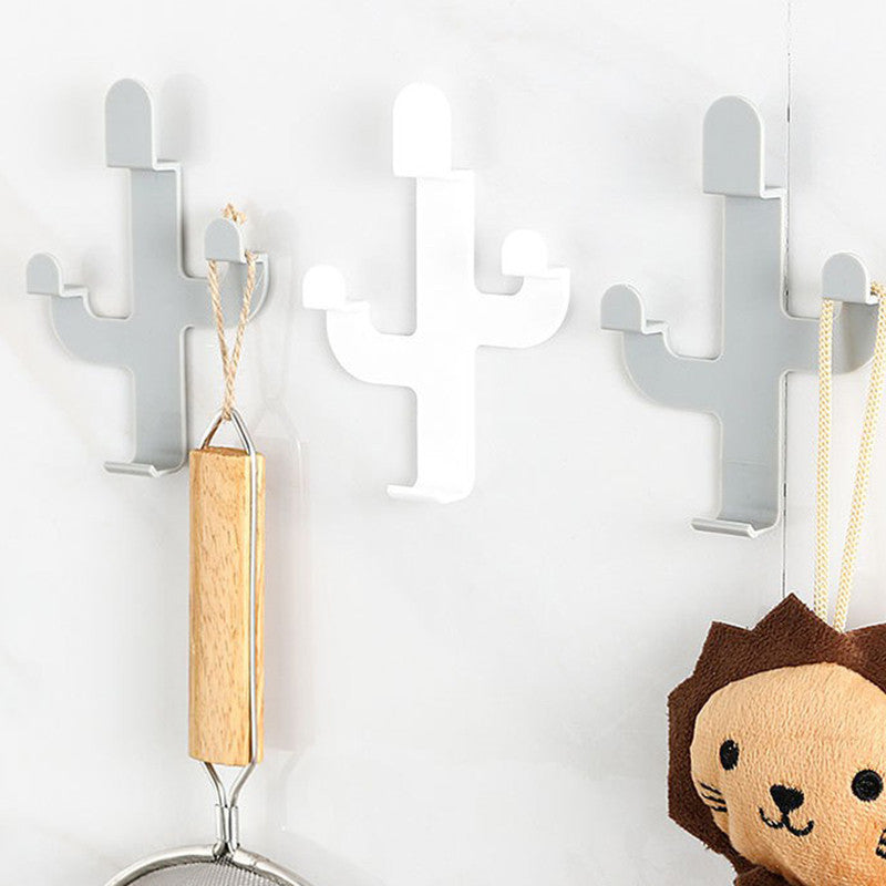Cactus Shaped Hooks Self Adhesive Key Holder Wall Hook Coat Hanger