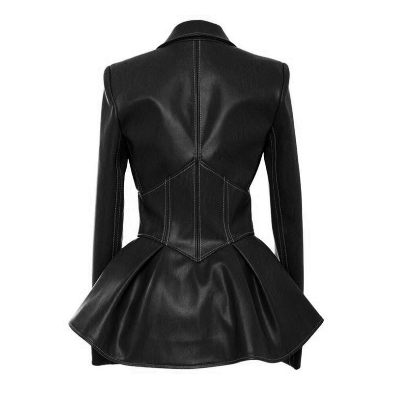 Turn down collar full sleeves high waist PU Leather jacket