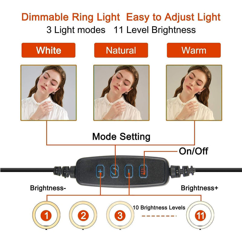 Dimmable LED Selfie Ring Light with Tripod Stand 7/11inch Makeup Lamp With Selfie Phone clip for Live Studio Photo Camera Video|Novelty Lighting