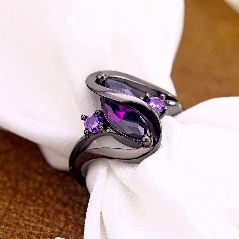 Purple Zircon CZ Crystal Colorful Rings